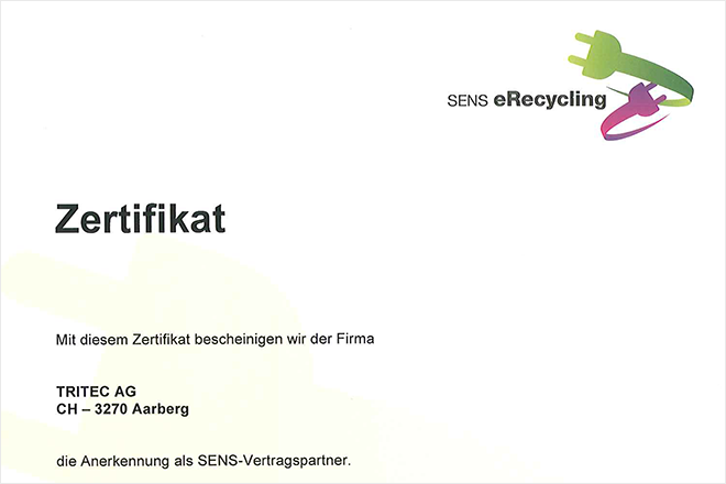 Zertifikat: SENS eRecycling